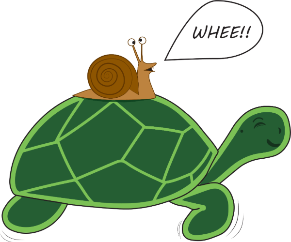 Turtle giving a snail a ride