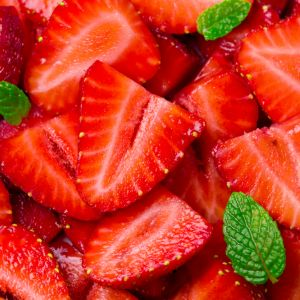 Sliced strawberries close up